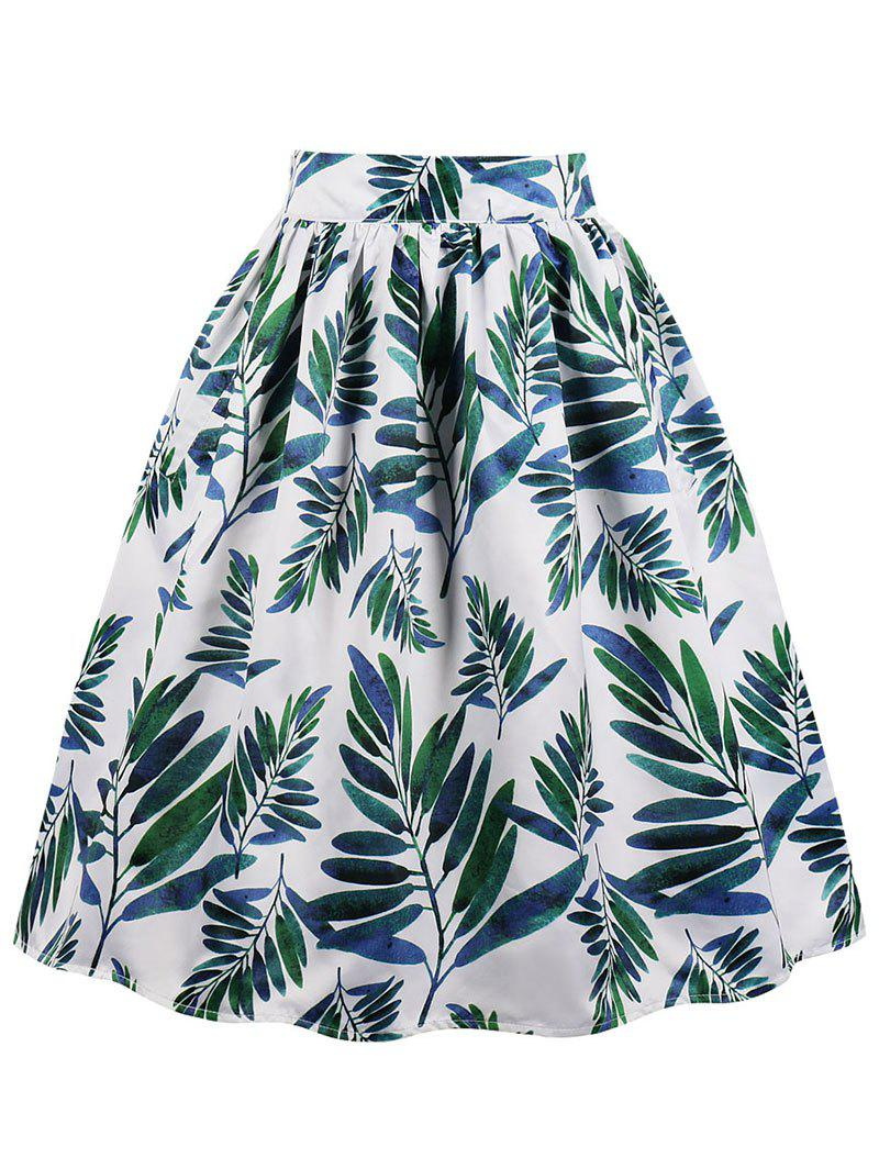 Sale Leaves Print Midi A Line Skirt