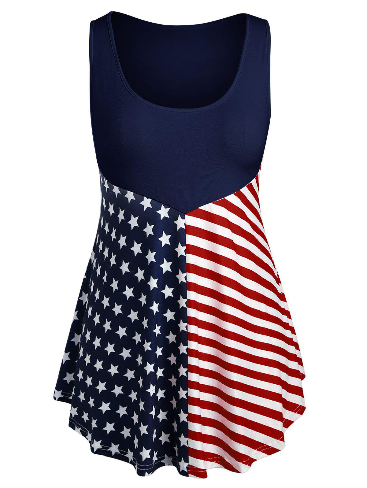 Latest Plus Size Patriotic American Flag Tank Top
