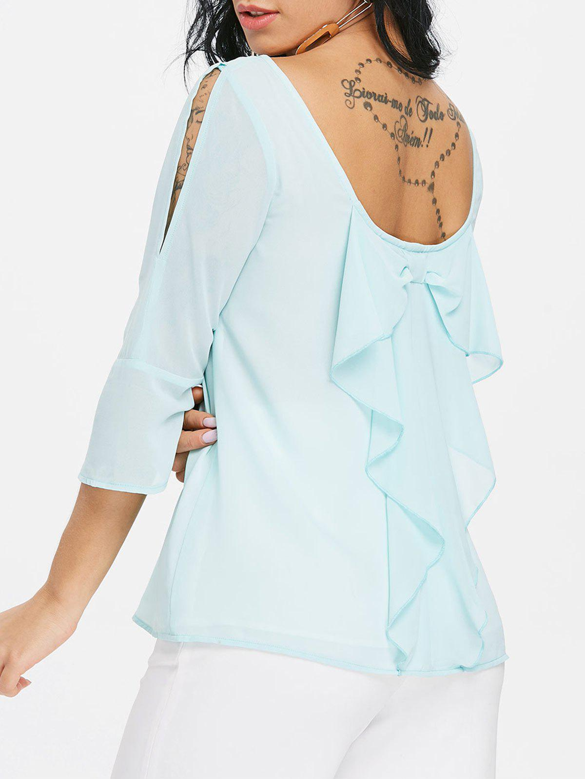 Best Low Back Chiffon Blouse with Bowknot