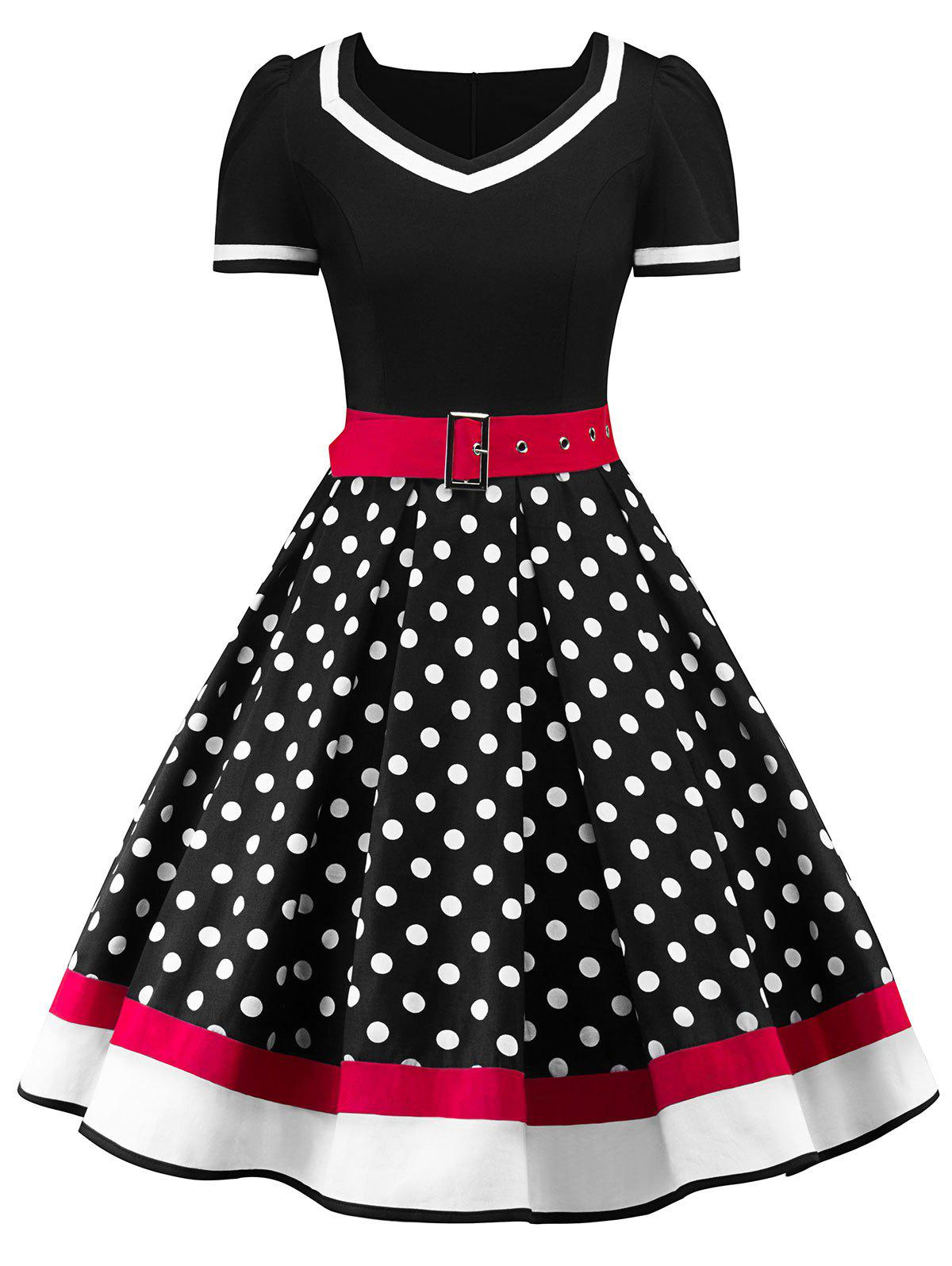 Store Sweetheart Neck Polka Dot Insert Swing Dress