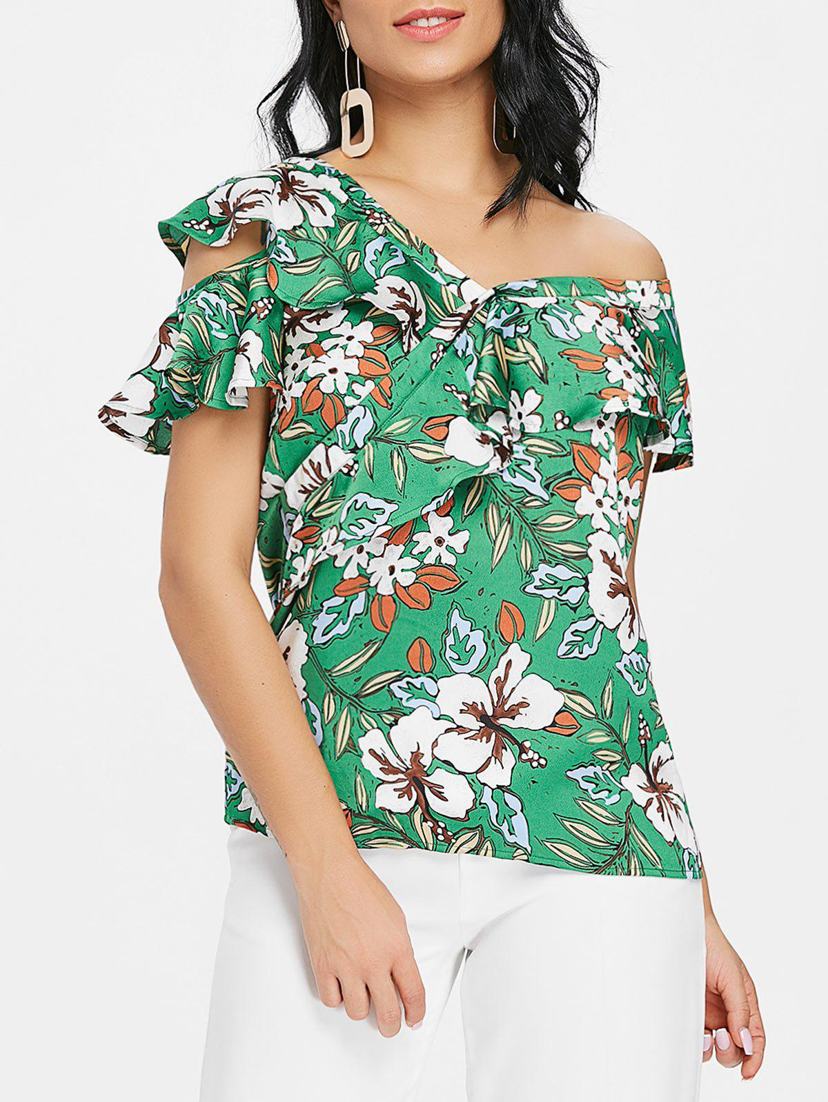 New Ruffle Skew Neck Floral Print Blouse