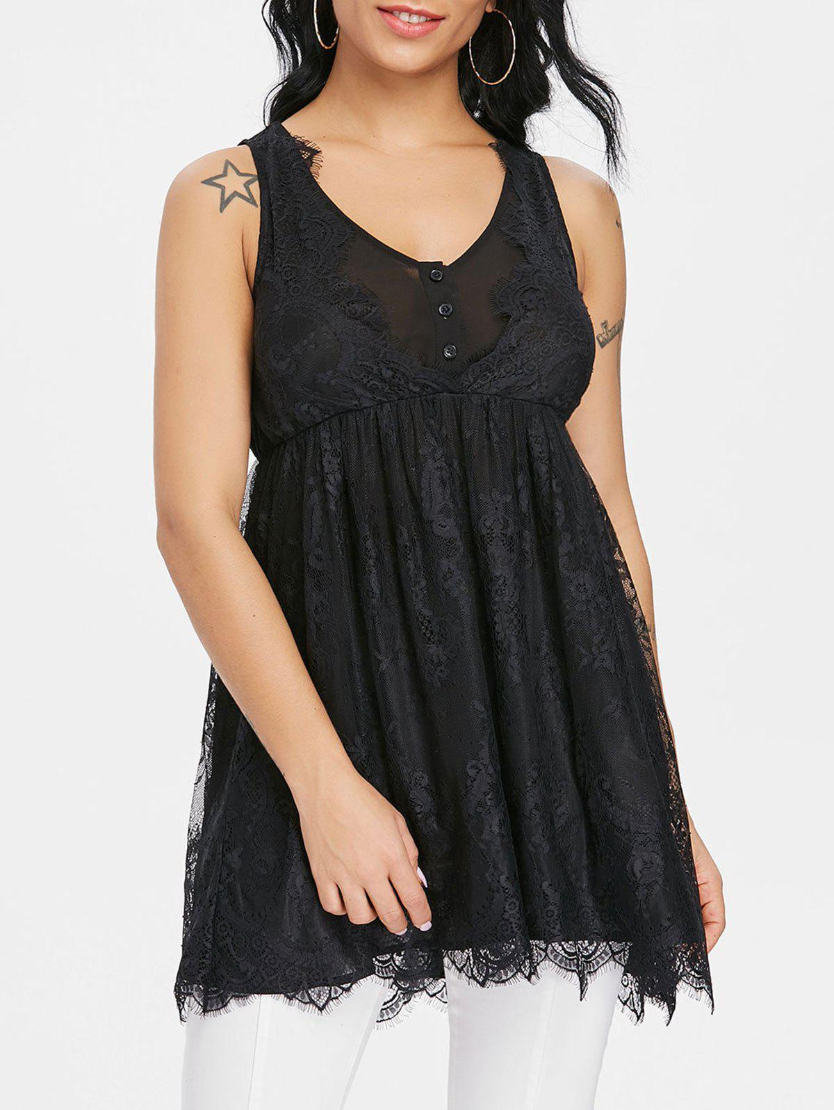 Discount Empire Waisted Sleeveless Lace Blouse
