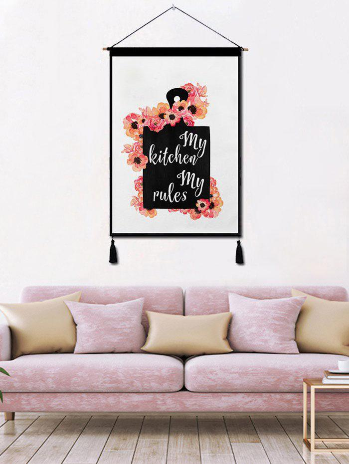 New Flower Printed Tassel Wall Hanging Painting