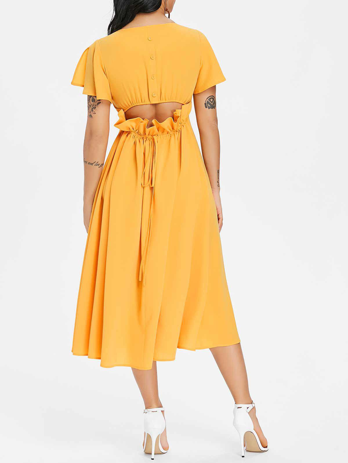 Store Button Drawstring Cut Out Chiffon Midi Dress