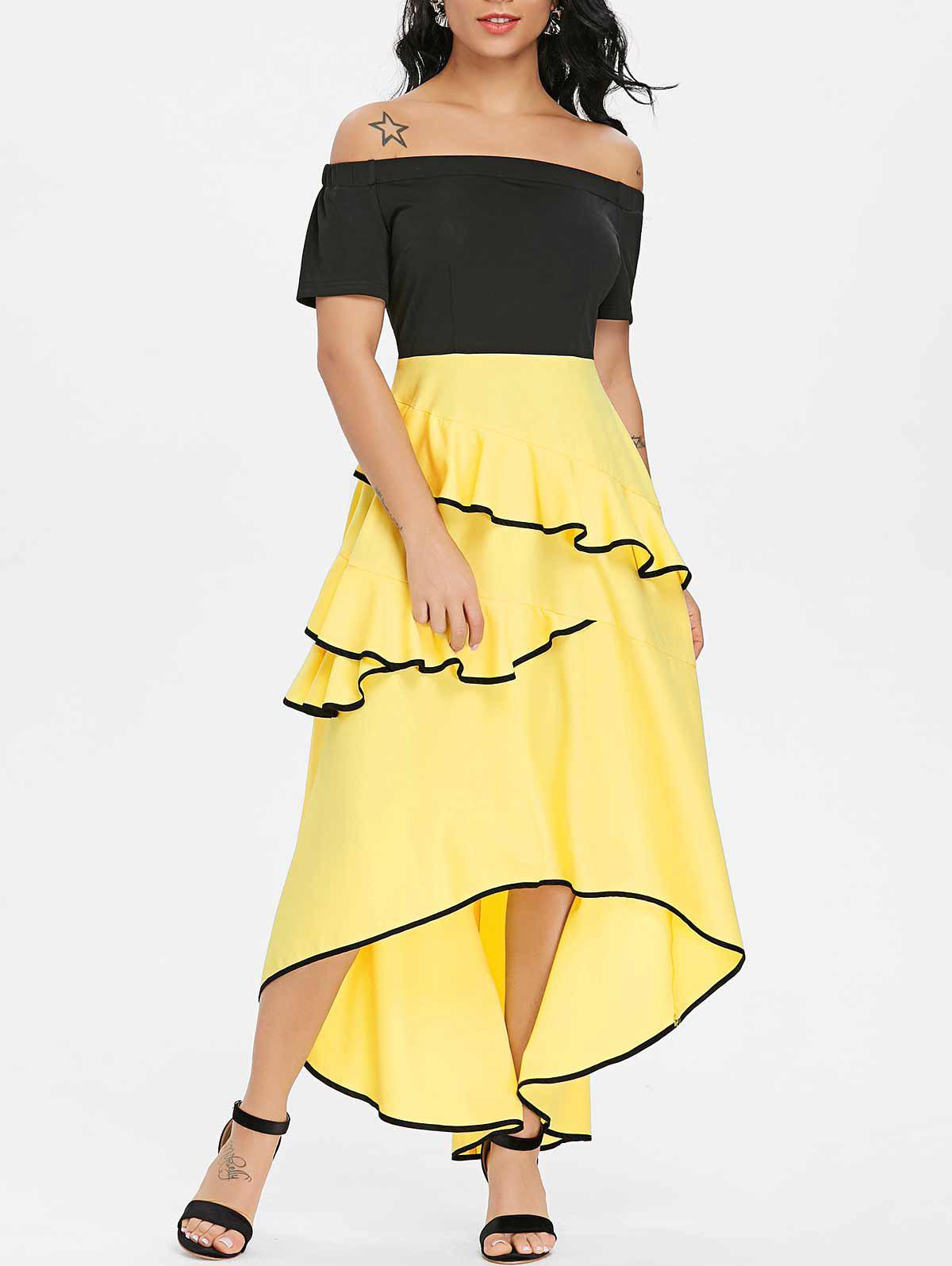 Outfit Asymmetrical Ruffle Off Shoulder Dress