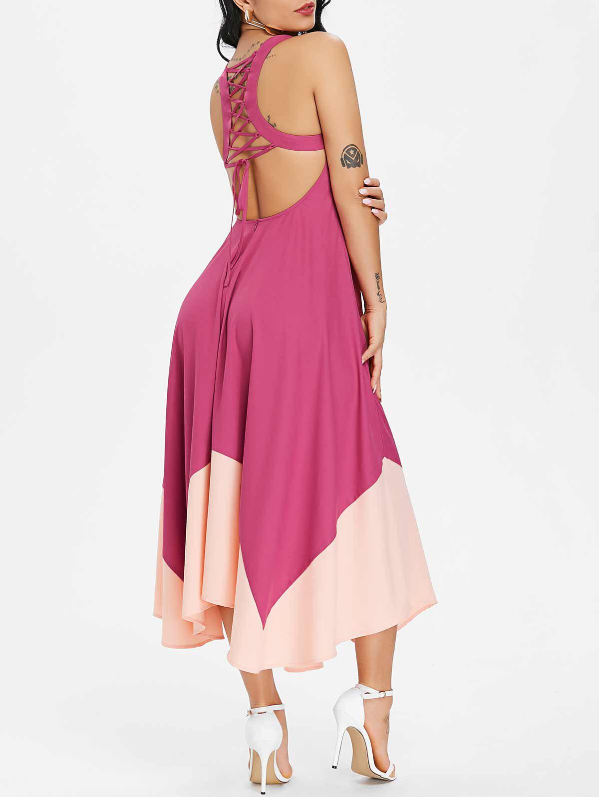 Affordable Lace Up Color Block Asymmetric Midi Chiffon Dress