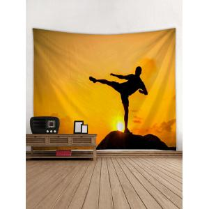 Man Practicing Kungfu Print Wall Tapestry Art -