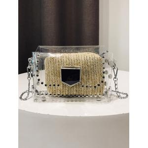 Transparent Stud 2 Pieces Crossbody Bag -