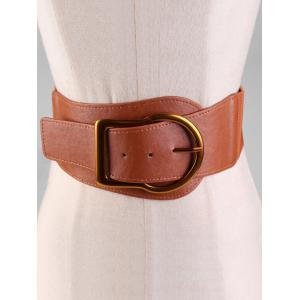 Retro Gold Metal Buckle Ceinture large en faux cuir -