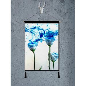 Flower Plant Printed Tassel Wall Hanging Painting -