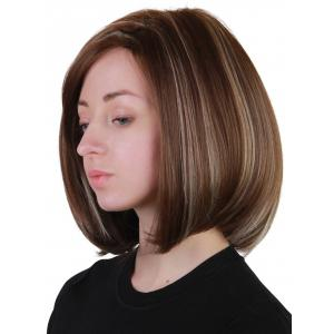 Short Side Bang Highlighted Straight Bob Synthetic Wig -