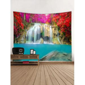 Red Trees Waterfall Print Wall Hanging Tapestry -