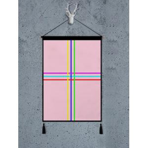 Color Block Geometric Printed Tassel Wall Hanging Painting -