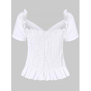 Ruffle Smocked Sweetheart Neck Blouse -