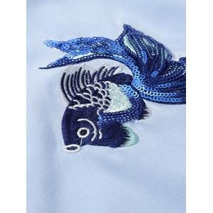 Bouton Up Embroidery Paillette Fish Shirt -