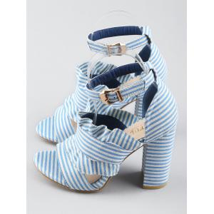 Striped Ruffless High Heel Ankle Strap Sandals -