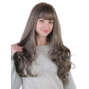 Long Neat Bang Colormix Wavy Synthetic Party Wig -