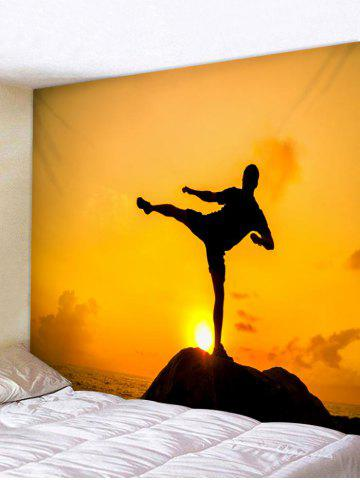 Hot Man Practicing Kungfu Print Wall Tapestry Art