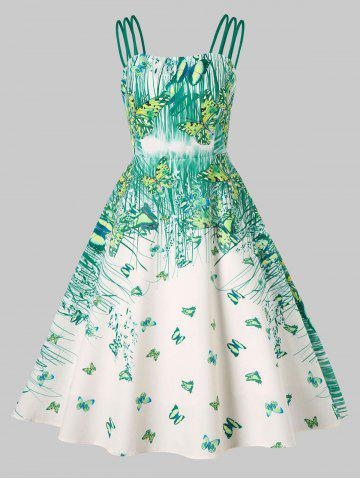 Cheap Butterflies Grass Printed Strappy Dress