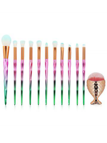 Affordable Set of 12Pcs Gradient Color Handle Ultra Soft Makeup Brush Set