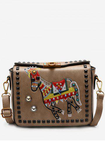 Cheap Faux Leather Embroidery Studded Crossbody Bag