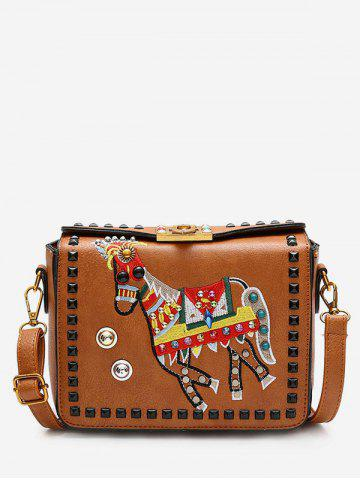 Sale Faux Leather Embroidery Studded Crossbody Bag