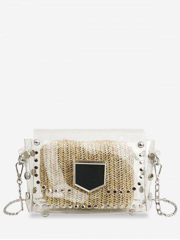 Online Transparent Stud 2 Pieces Crossbody Bag