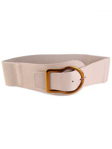 Affordable Retro Gold Metal Buckle Faux Leather Wide Waist Belt