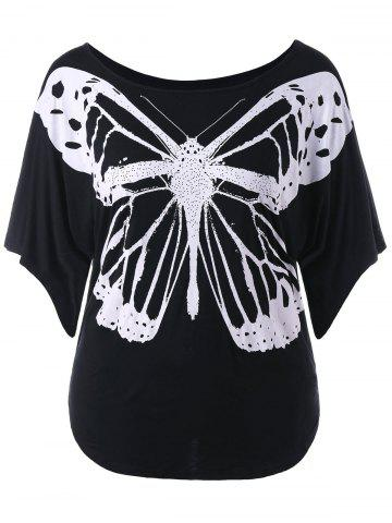 Discount Butterfly Print Plus Size Round Neck T-shirt