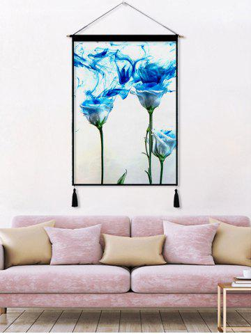 Chic Flower Plant Printed Tassel Wall Hanging Painting
