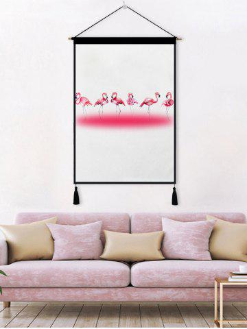 Discount Flamingo Printed Tassel Wall Hanging Painting