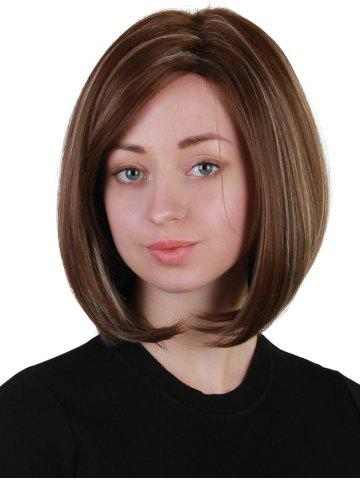 Outfits Short Side Bang Highlighted Straight Bob Synthetic Wig