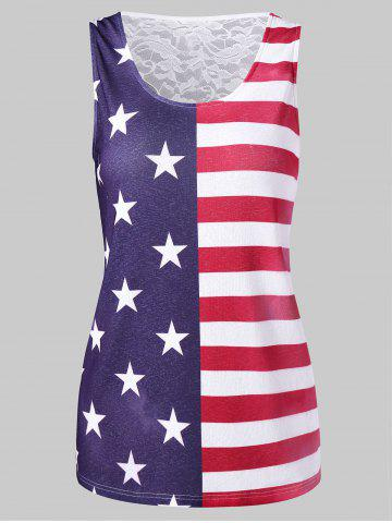 American Flag Lace Panel Tank Top