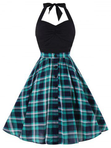 Online Retro Halter Ruched Plaid Swing Dress