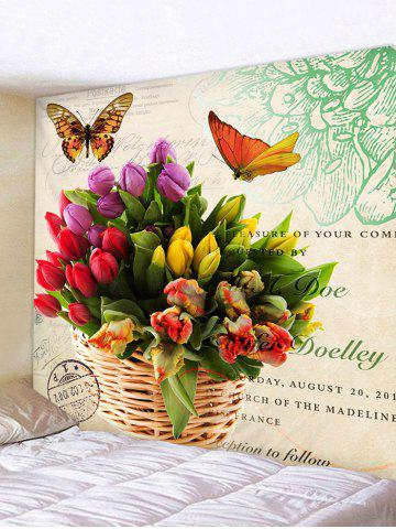 Buy Wall Hanging Art Flowers and Butterfly Print Tapestry