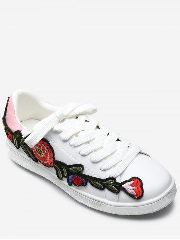 Cheap Floral Embroidery Lace Up Sport Shoes