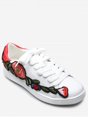Trendy Floral Embroidery Lace Up Sport Shoes