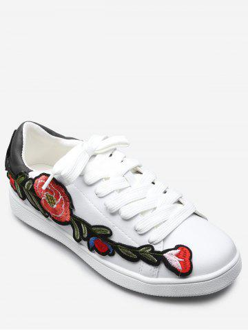 Hot Floral Embroidery Lace Up Sport Shoes