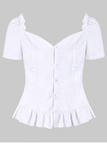 Discount Ruffle Smocked Sweetheart Neck Blouse