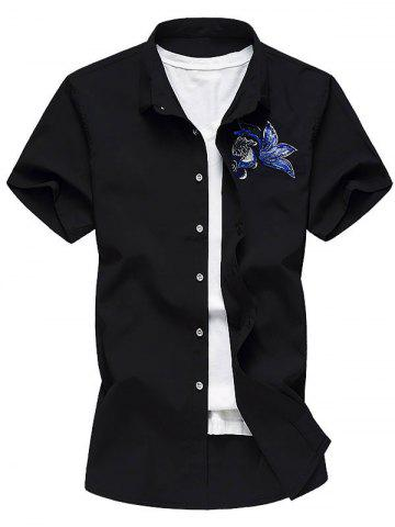 Best Button Up Embroidery Paillette Fish Shirt