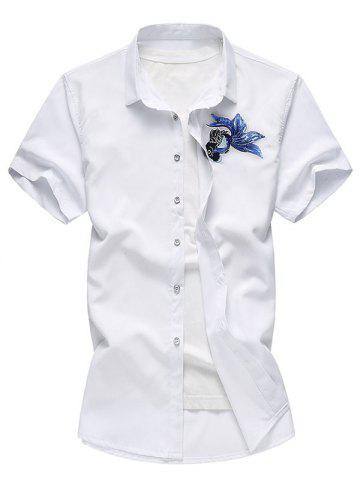 Bouton Up Embroidery Paillette Fish Shirt