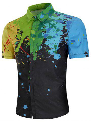 Sale Colorful Paint Splash Print Short Sleeve Shirt