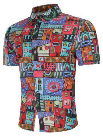 Chic Allover House Print Short Sleeve Shirt