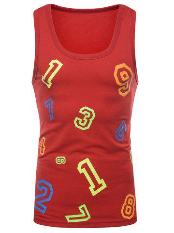 Fancy Colorful Numbers Print Tank Top
