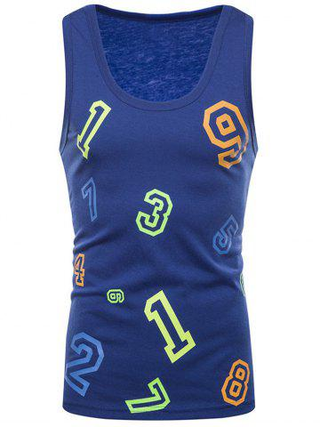 New Colorful Numbers Print Tank Top