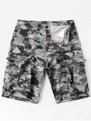 Hot Casual Zipper Fly Oil Paint Print Cargo Shorts