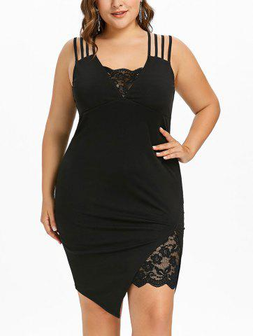 Store Plus Size Asymmetric Knee Length Strappy Dress