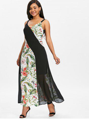 Floral Print Panel Chiffon Long Dress