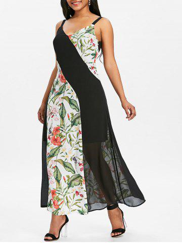Floral Print Panel Chiffon Long Dress - MULTI - M