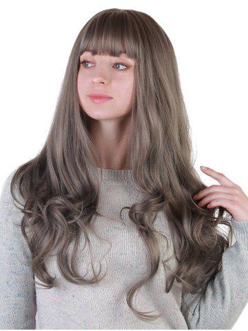 Cheap Long Neat Bang Colormix Wavy Synthetic Party Wig